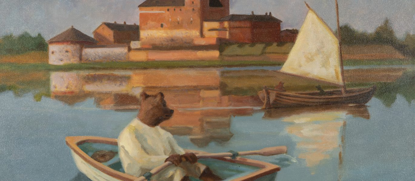 NaiveArtIIttala_A_Bear_Rowing_by_the_lakeVanajavesi_Kati_Mikola